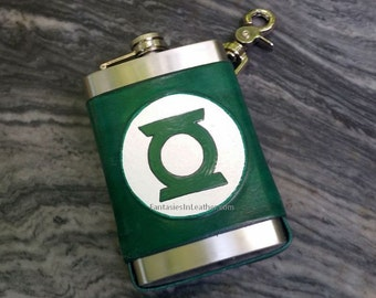 Green Lantern Leather Flask Cover And Stainless Steel Flask (MIS134)