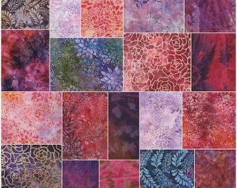 """Benartex Berry Delight Bali Batiks prédécoupée 5"""" charme Pack tissu Quilting carrés de coton SQ11"""