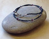Custom Listing For JESSICA - Dainty Handcrafted - Simple FIRE POLISHED Amethyst Glass Bead Necklace