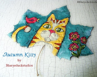 Fall, Autumn Kitty, Cat,  Autumnal Art, folk art, original painting, autumn leaf, fine art, Oak Leaf, Nature, Garden Art, Orange Tabby