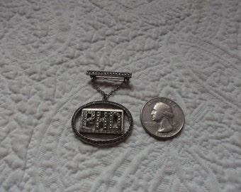 Vintage Silver Colored Metal with Marcasites PHD Brooch/Pin
