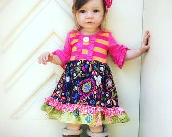 Family portrait fall girls dress headband ruffle pants custom boutique Momi boutique