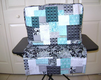 Sewing Machine Cover Set Standard Size In Teal And Black Fabric With Matching Scarf