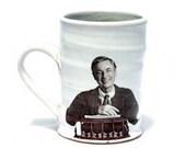 Wheel thrown mug with image of Mr. Rogers