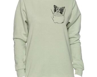 Papillon In Pocket Art LADIES Sweatshirt Small - 2XL