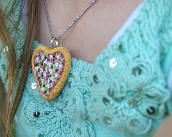 Christmas in July - Pizza heart Necklace - Pizza Necklace - Heart necklace - Pizza Jewelry - Miniature food - Food Necklace - Food Jewelry -