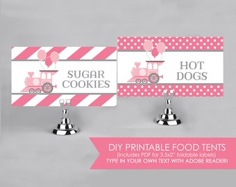 Choo Choo Train and Balloons Party - Pink - Food Labels - Printable DIY with fully editable text