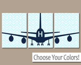 AIRPLANE Wall Art, Canvas or Prints Baby BOY Nursery Decor,  Plane Artwork, Airplane Theme, Fly Transportation Set of 3 AIRPLANES Pictures