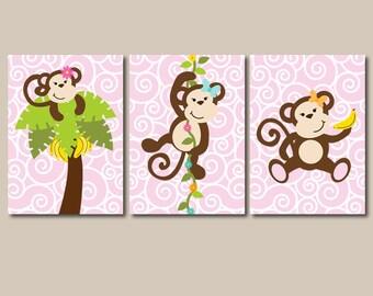 GIRL MONKEY Wall Art  Baby Girl NURSERY Artwork  Monkey Theme  Girl Bedroom  Pictures