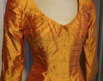 Vintage 80's Designer Victor Costa,Dupioni  Silk Jacket, Goldenrod, Golden Orange Peplum
