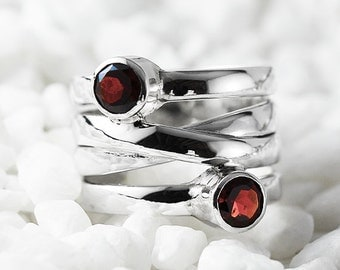 Red Garnet Ring 14k White Gold Personalized Rings January Birthstone Jewelry