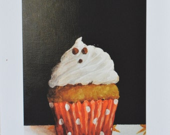 Halloween Ghost Cupcake PRINT 5x7 from original painting