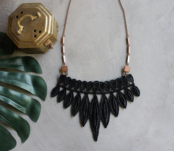 statement necklace, lace collar necklace, TRIBE,  spiky, modern necklace, black lace necklace, unique jewelry