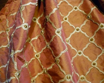 100% Embroidered Silk Drapery Fabric Lattice 1+ Yards