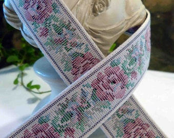 Vintage Tapestry Rose Ribbon Trim By the Yard