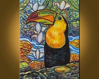 Toucan Jungle -- 12 x 16 inch Original Oil Painting by Elizabeth Graf on Etsy -- Art Painting, Art & Collectibles