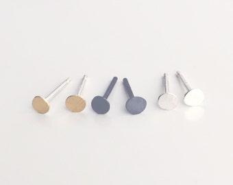 tiny stud earring set of 3 pairs - tiny gold, tiny oxidized and tiny bright silver