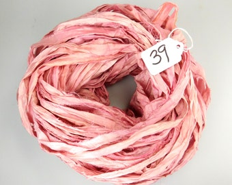 Sari silk Ribbon, Recycled Silk Sari Ribbon, Pink sari ribbon, Pastel pink ribbon, pink ribbon, pink silk ribbon, Weaving supply