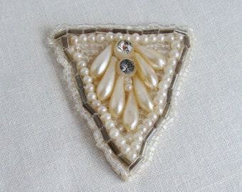 Beaded Faux Pearl Applique Trim with Rhinestone and Beading Antique Vintage