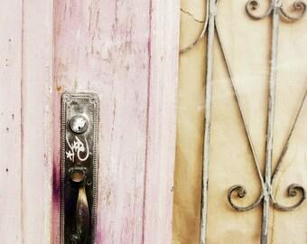 """Pink Door Photograph - Pastel Pale Rose Pink Wall Art - San Francisco - Rust Mocha Brown - Metal Ironwork Spirals - 11x14  Print """"Pink Door"""""""