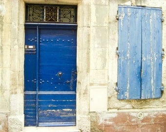 Provence France photography indigo blue door beige cornflower cobalt blue architecture travel wall art 'French Blues'