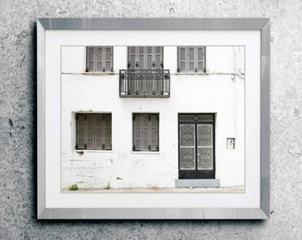 """Architecture art print Greece travel photography gray white black wall art for him """"Monochrome House"""""""
