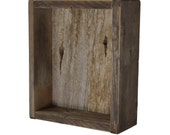 Rustic shadow box wall shelf from reclaimed wood