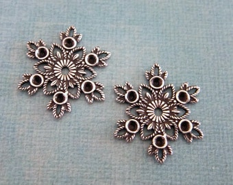 NEW 2 Silver Snowflake Charms 3800