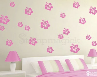 Hibiscus Wall Decal - Hawaiian Tropical Flower Pattern Vinyl Wall Decal - Wall Mural Home Wall Decor Pattern - K313