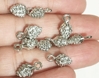 10 pcs of Silver plated Pinecone charm 13x7mm, Silver Pine Cone drops, Silver Pinecone pendant