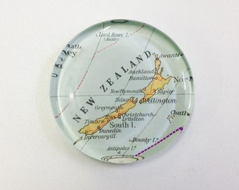 Vintage Map Paperweight - New Zealand - Ready to ship