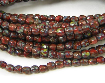 3mm Red Picasso Beads Burgundy Opaque Fire Polish Czech Glass Beads |R9-3| 1x50