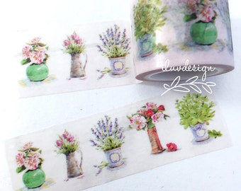 Flower Bouquet Washi Tape • Potted Plant • Basil • Lavender • Floral (183479)