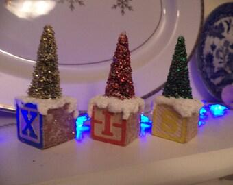 Vintage Christmas Glittered Mini Trees on Vintage Blocks