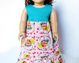 Fits like American Girl Doll Clothes - Ruffled Maxi Dress in Cherry Blossom Pink