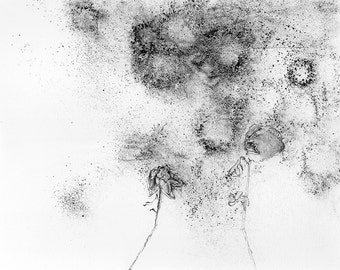 Flowers in a Dustbowl, contemporary abstract art, Framed Pencil Drawing
