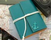 Nautical Travel Aqua Leather Journal Handmade Leather Sketchbook Sailor's Journal Nautical Guest Book Handmade Blue Leather Book