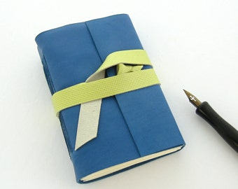 Blue Leather Journal, Pocket Journal, Small Leather Book, Little Sketchbook, Lambskin Journal, 3rd Anniversary Gift, Handmade Book