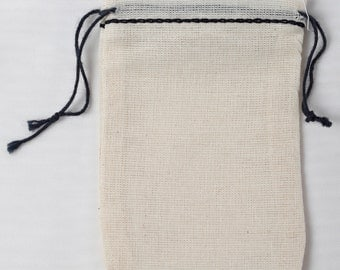 100 Mini 2.3/4 x 4 Cotton Muslin Bags with Black Hem and Black Double Draw String
