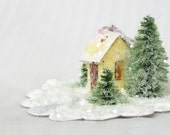 Vintage Retro Putz Style Miniature Yellow Glitter Woodland Ice / Out House / Warming Cottage with Pine Trees for Christmas Village Tree