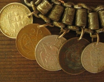world tour ~ antique currency coins military regalia chain bracelet