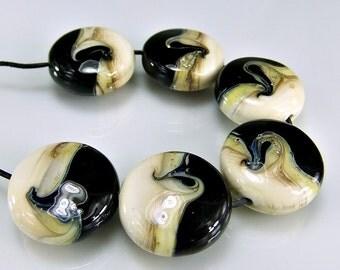 Glass Lampwork Beads Black Ivory Silver Lampwork Bead Set