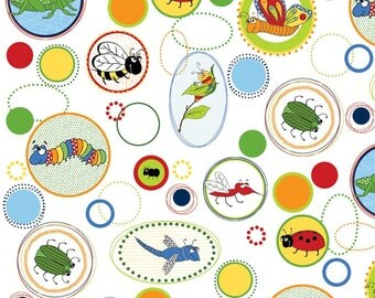 Buggy Circles- Adornit Fabric- Cotton Fabric- Fabric- Fabric by the Half Yard - Bugs- Boy- Sew- Quilt- Apparel