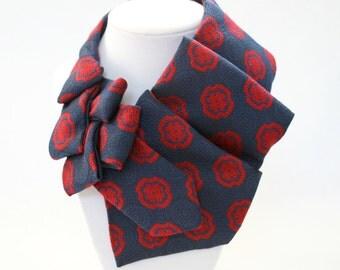 Necktie Necklace - Womens Tie - Work Wear - Gift For Wife - Necktie Scarf - Blue Vintage Tie - Repurposed Clothing - Navy Tie. 7