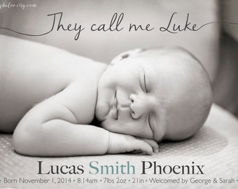 Boy BIRTH ANNOUNCEMENT - They call me - Photo Baby Announcement  - Birth announcement boy, Newborn Printable Digital Girl birth announcement