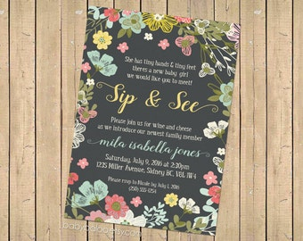 SIP and SEE Garden Sip & See Party Invite, Meet the Baby, Baby girl Shower - Diy Printable Digital - Meet Greet - Floral - Flowers - Vintage