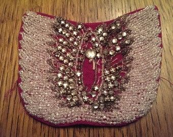 Vintage 4 inch Hand Beaded Piece of Trim