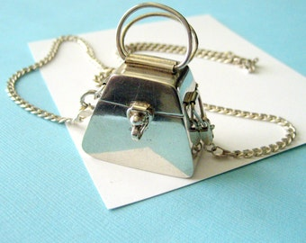 SALE..Sterling Silver Taxco Purse Locket Pendant and Chain