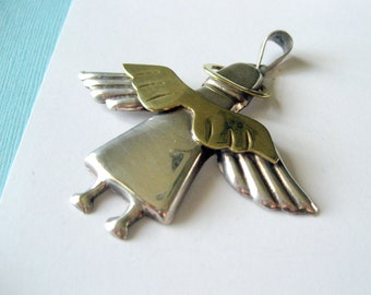 Sterling Silver & Brass Mexico Angel Pendant