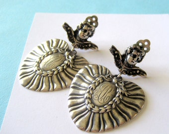Foree Hunsicker Victorian Sterling Silver Luggage Tag Clip Earrings